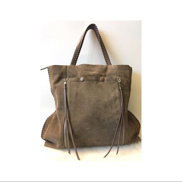 All Saints Handbags - All Saints La Fleur Grey Suede Boho Handbag